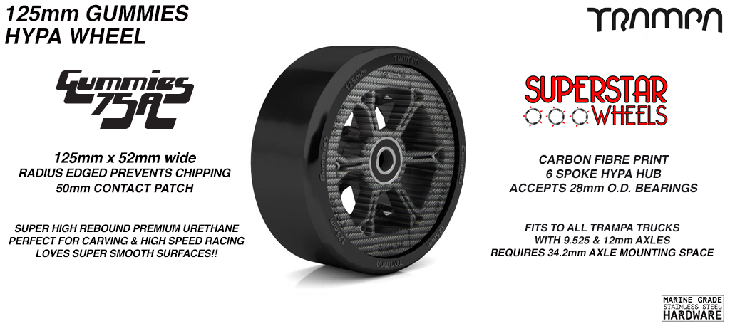 CARBON Print HYPA hub with BLACK Gummies 125mm Longboard Wheel Tyre