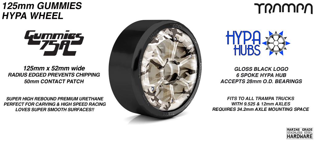 Winter Camo HYPA hub with BLACK Gummies 125mm Longboard Wheel Tyre