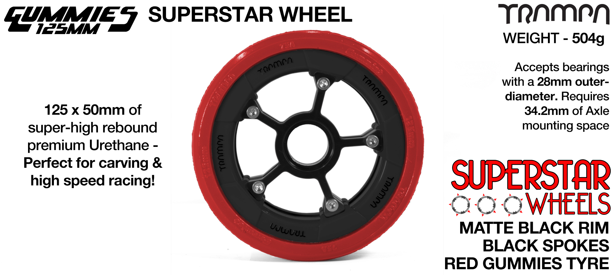 Superstar 125mm Longboard Wheels - Matt BLACK SUPERSTAR Rim with GUNMETAL Anodised Spokes & TTRAMPA BLACK Gummies 125mm Longboard Wheel Tyre