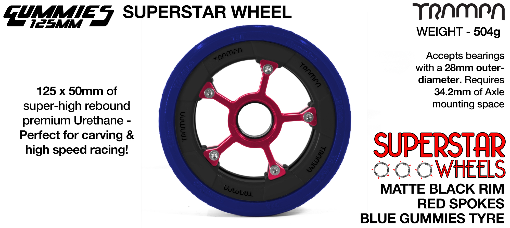 Superstar 125mm Longboard Wheels - Matt BLACK Superstar Rim RED Spokes with BLUE Gummies