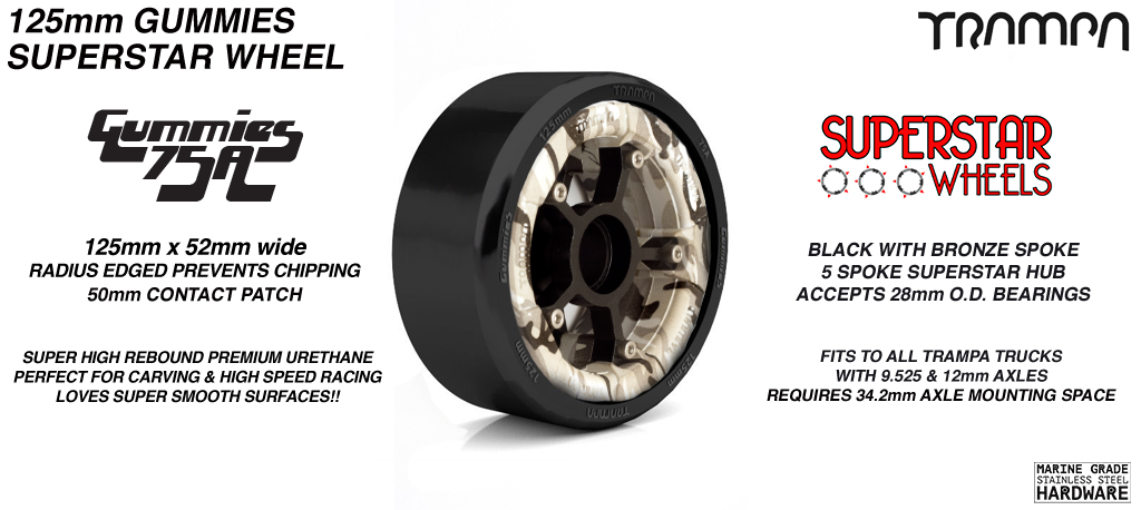 Superstar 125mm Longboard Wheels - WINTER CAMO Superstar Rim with BLACK Spokes & BLACK Gummies 125mm Longboard Wheel Tyre