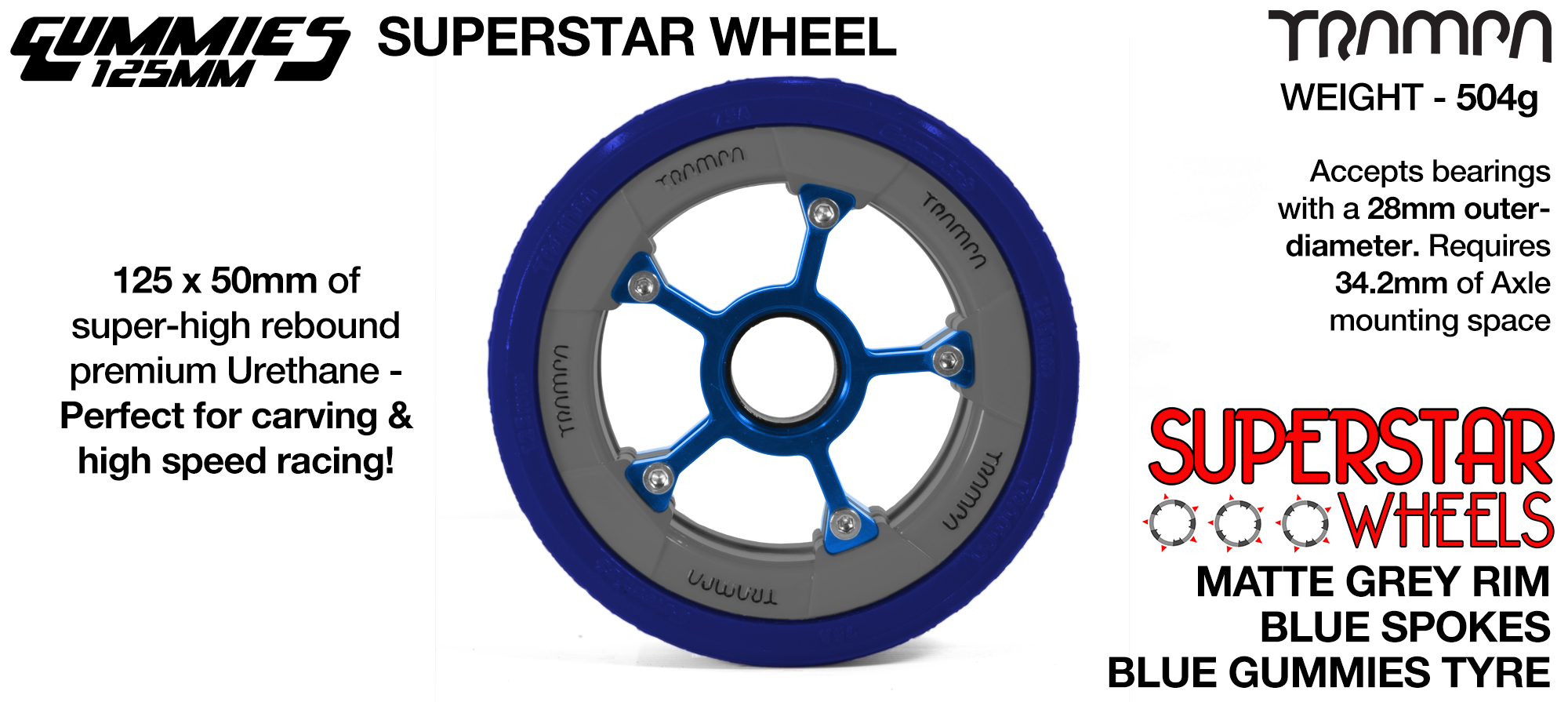 Superstar 125mm Longboard Wheels - CARBON print Superstar Rim with RED Spokes & BLACK Gummies 125mm Longboard Wheel Tyre