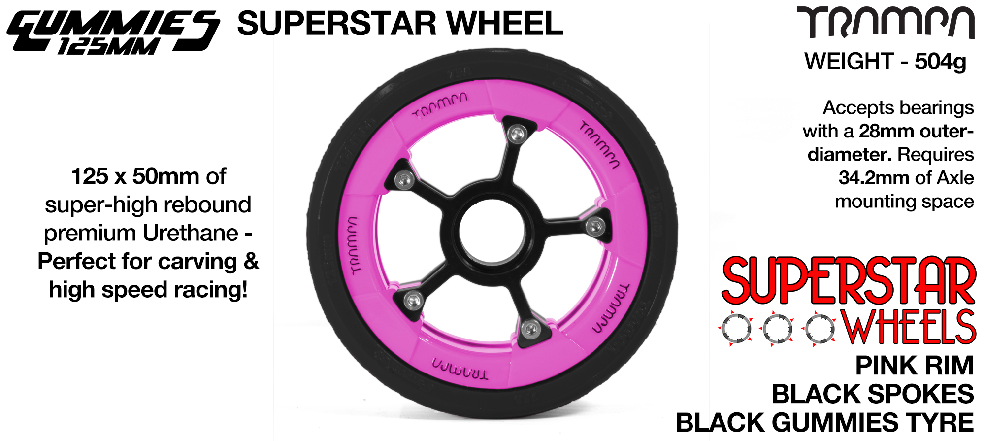 Superstar 125mm Longboard Wheels - CARBON print Superstar Rim with BLUE Spokes & BLACK Gummies 125mm Longboard Wheel Tyre