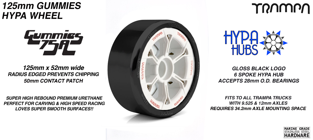 WHITE GLOSS with RED Logo HYPA hub with BLACK Gummies 125mm Longboard Wheel Tyre