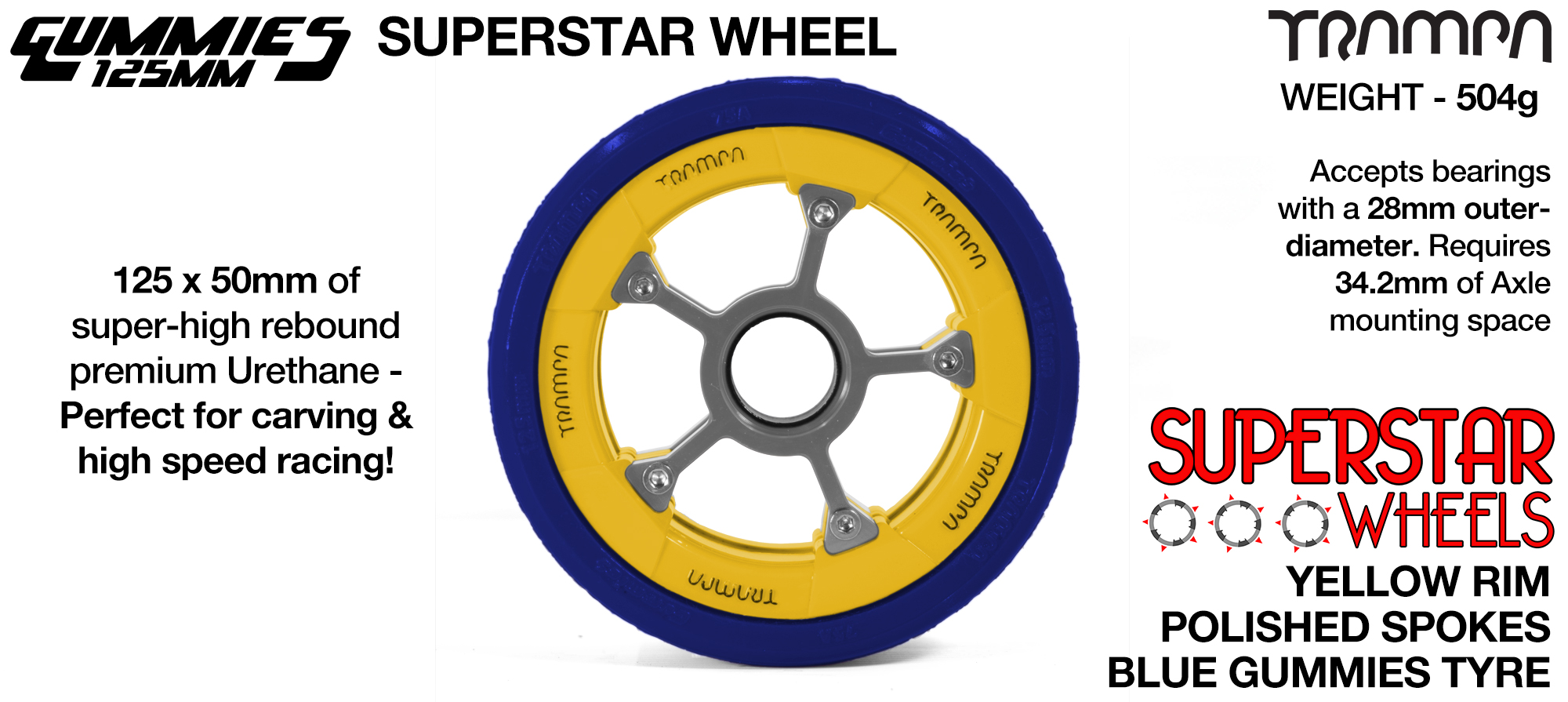 Superstar 125mm Longboard Wheels - GLOSS WHITE with BLUE logo Superstar Rim with BLUE Spokes & BLACK Gummies 125mm Longboard Wheel Tyre