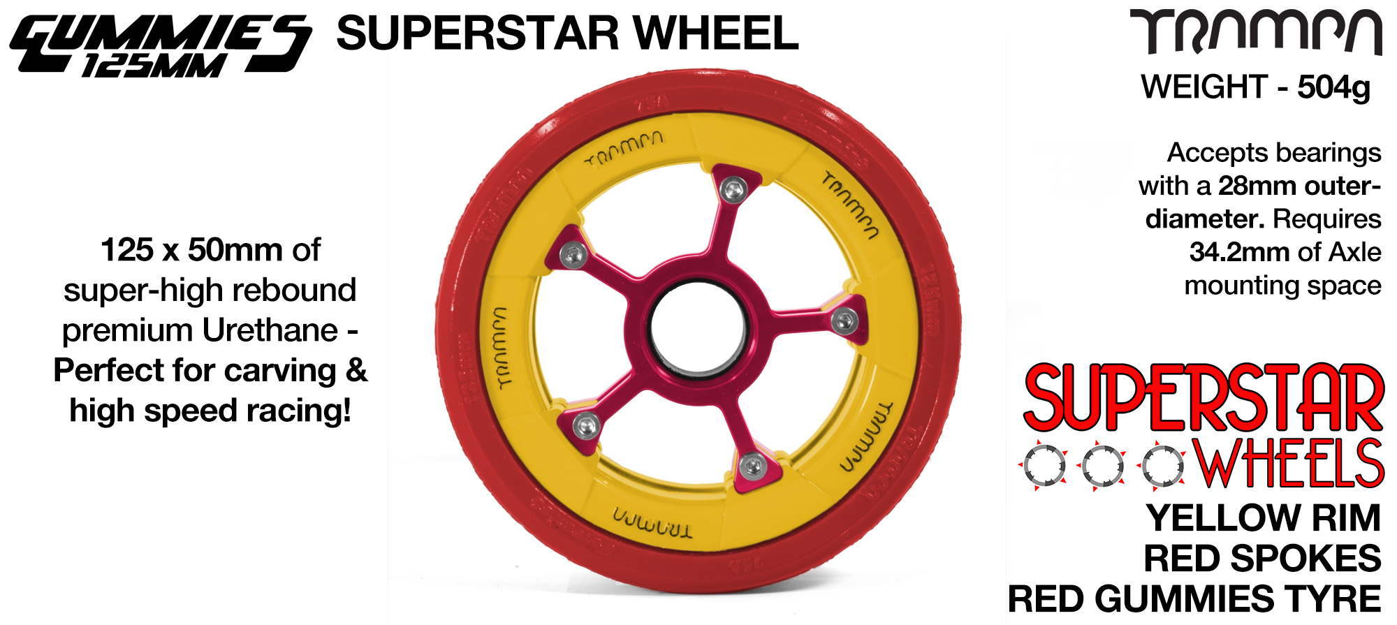 Superstar 125mm Longboard Wheels - GLOSS WHITE with RED logo Superstar Rim with RED Spokes & BLACK Gummies 125mm Longboard Wheel Tyre