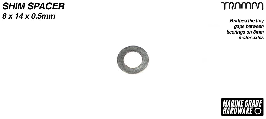 Shim spacer - Bridges the tiny gaps between bearings on 8mm axles - 8 x 14 x 0.5mm
