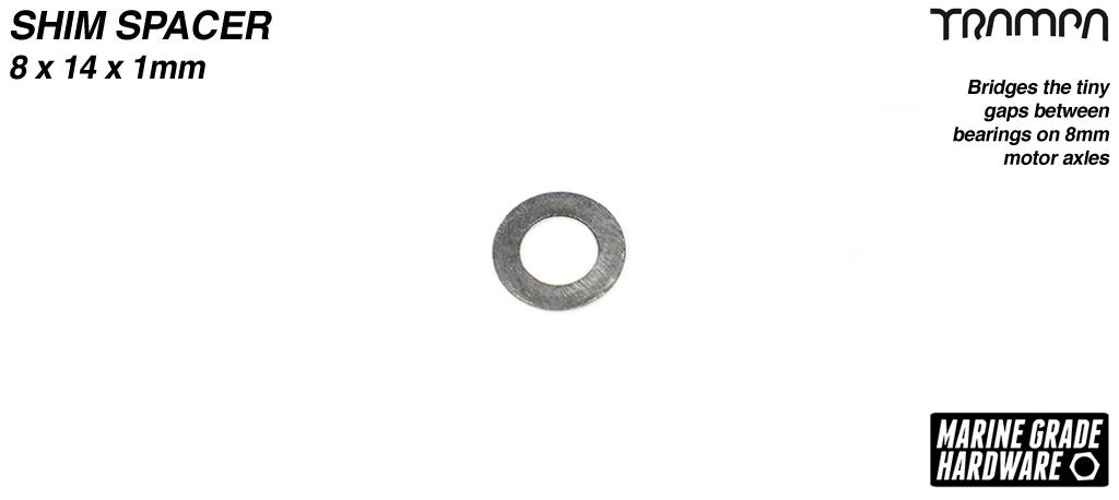 Shim spacer - Bridges the tiny gaps between bearings on 8mm axles - 8 x 14 x 1mm