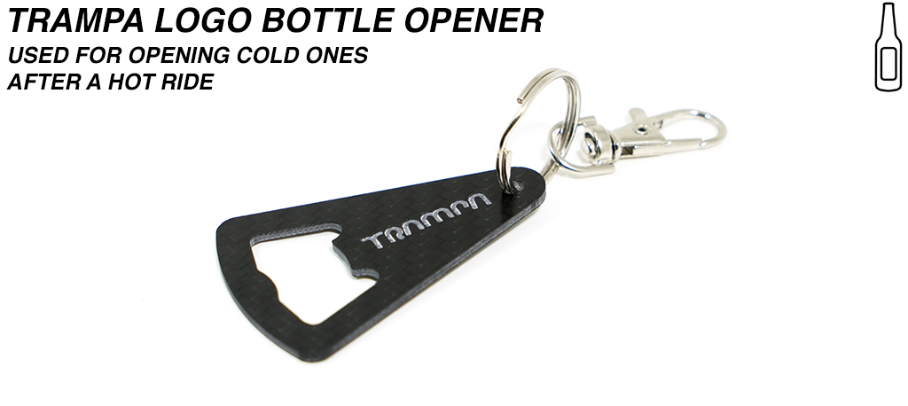 TRAMPA Carbon Fibre Bottle Opener with Stainless Steel ring & Quick Release Dog Clip