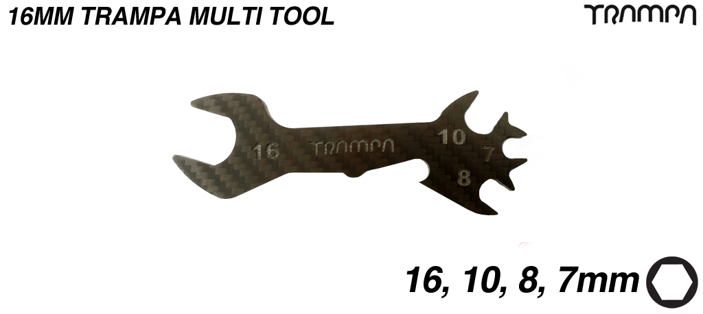 16mm Carbon Fibre Multi tool for TRAMPA 12mm Axle Decks