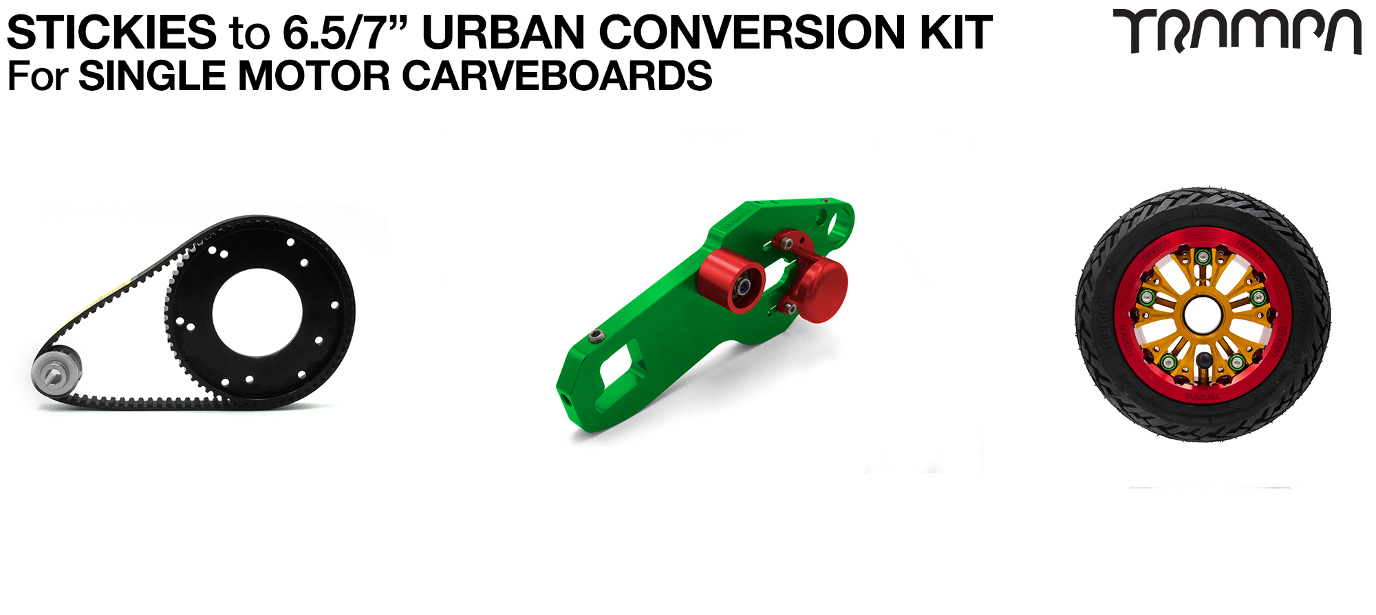 Street to Urban Carveboard complete Conversion kit with 4x 7 Inch Custom SUPERSTAR wheels - Single mount