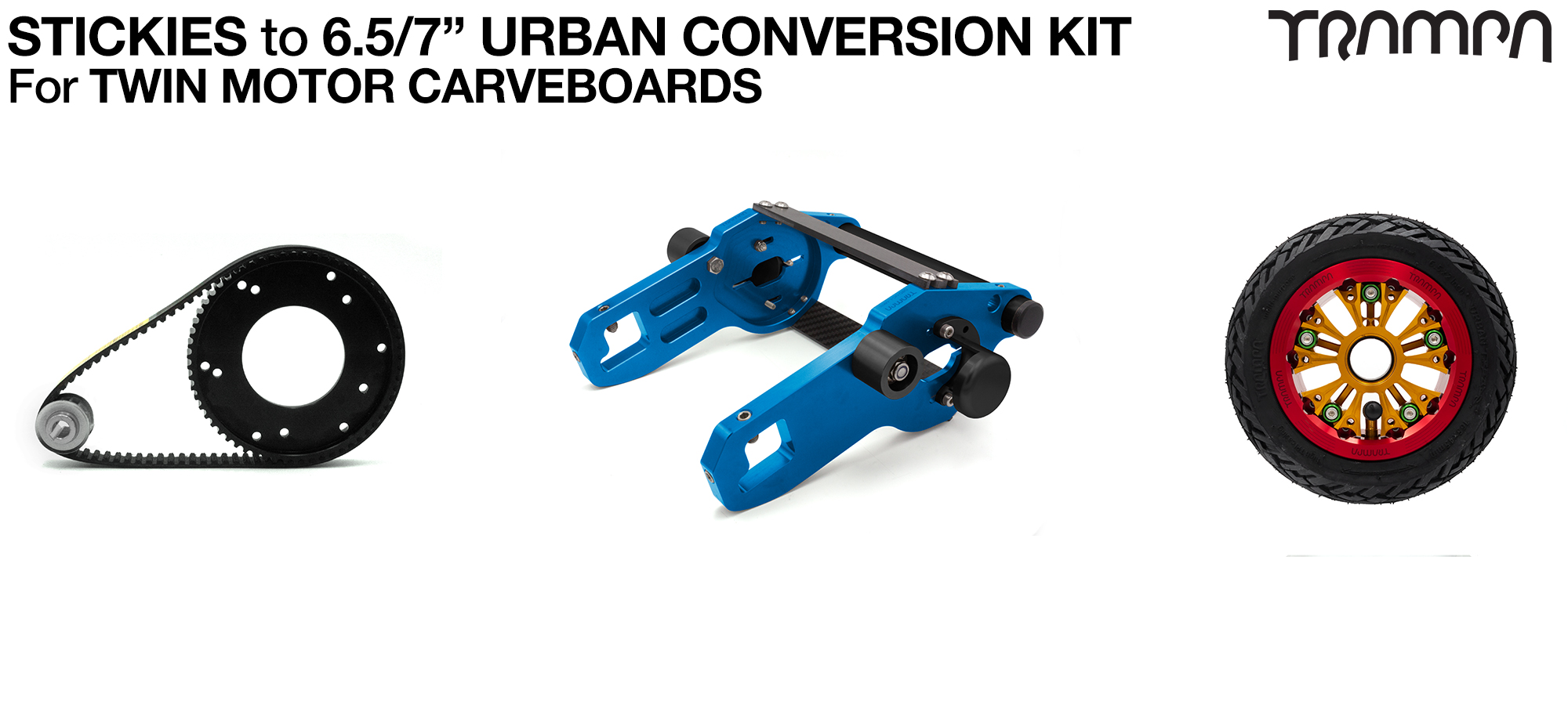 Street to Urban Carveboard complete Conversion kit with 4x 7 Inch Custom SUPERSTAR wheels & TWIN Motor Mounts