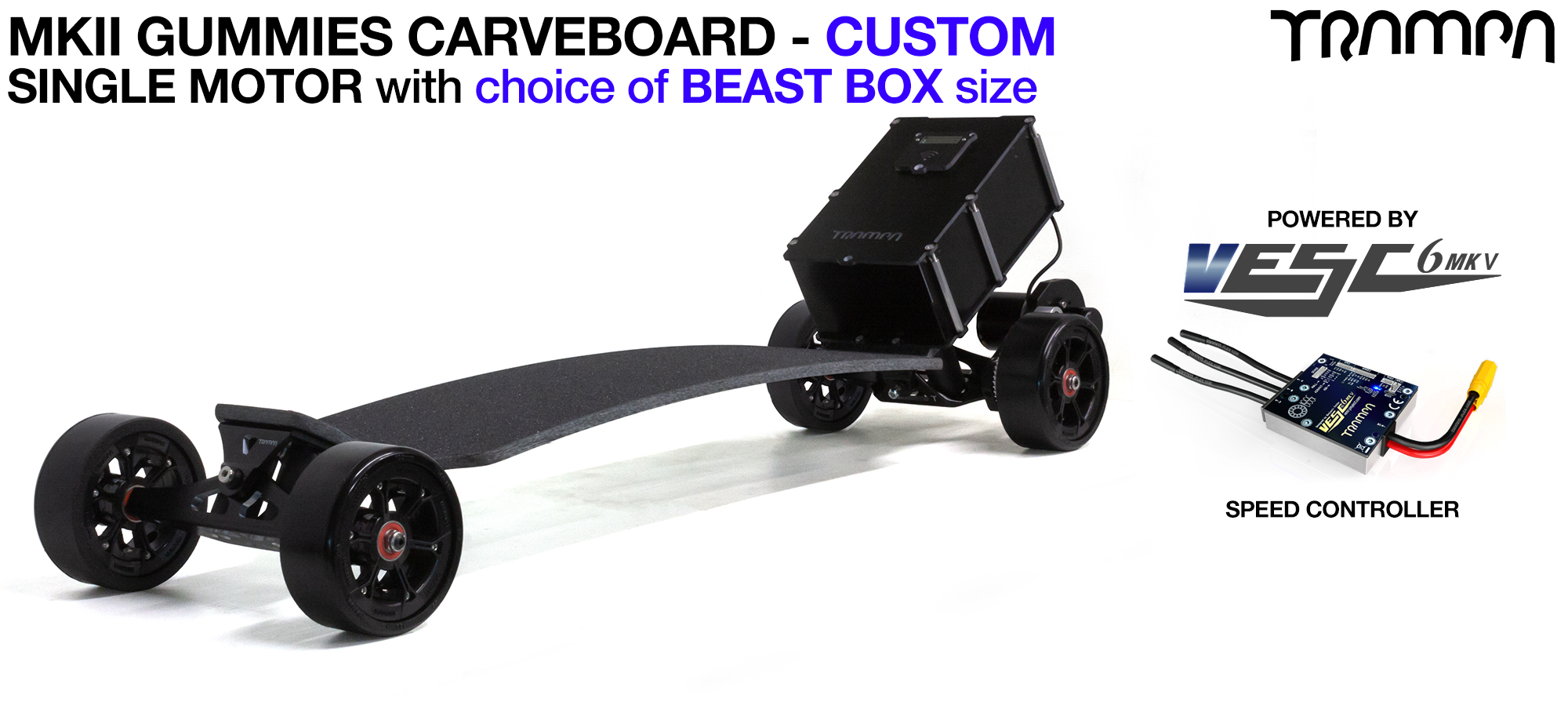 TRAMPA's Mk2 Electric GUMMIES Carveboard - Mini Spring Trucks with Mk2 URBAN Carve Motor Mount, Custom TRAMPA hubs & 125mm GUMMIES longboard Tyres - SINGLE Motor