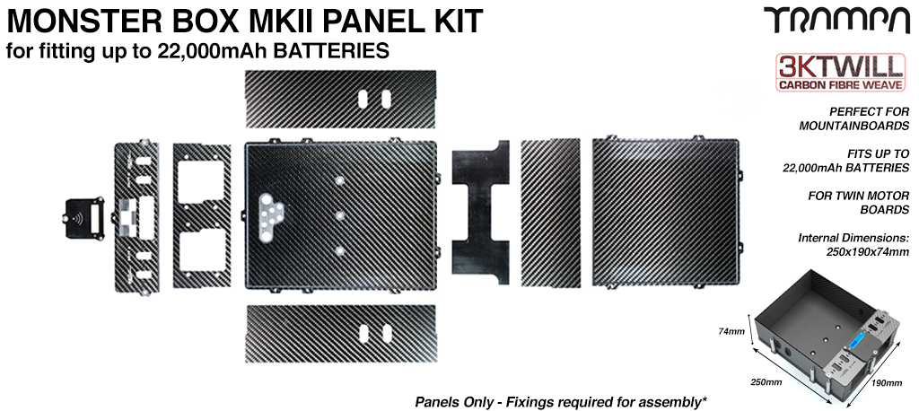 MONSTER Box Carbon Fiber Panel Kit MkII with internal chamber for TWIN VESC