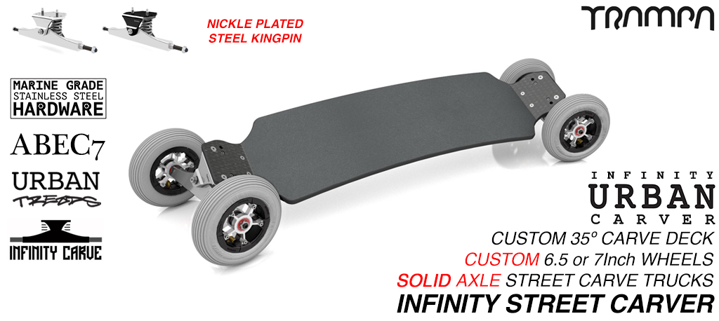 INFINITY URBAN Carveboard with 9.525mm SOLID Steel axles on 6 or 7 Inch Inch pneumatic Wheels