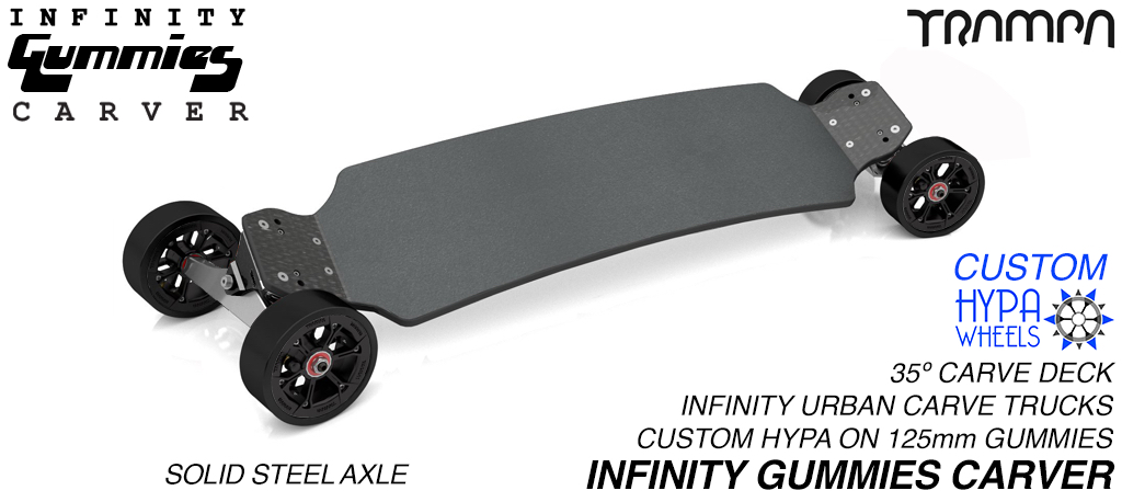 INFINITY Carveboard SOLID Axle INFINITY Trucks with Custom TRAMPA hub & 125mm GUMMIES longboard Tyres