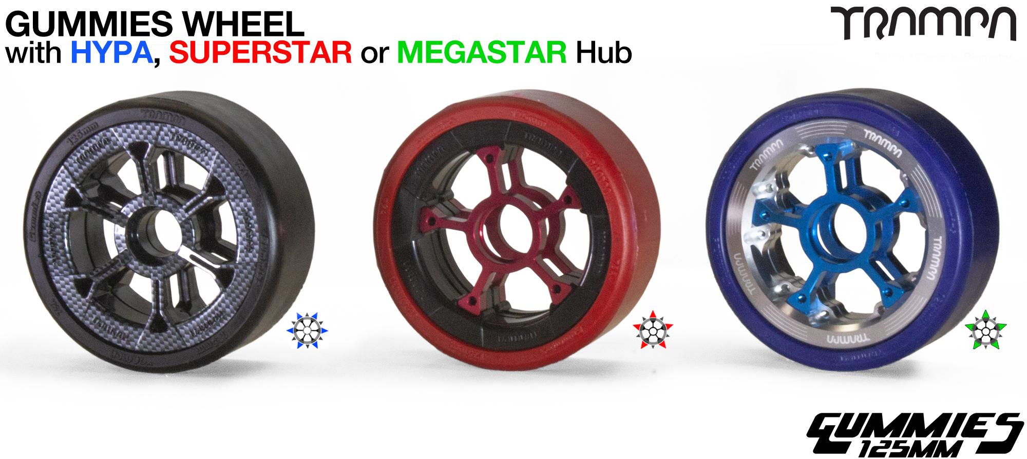 Custom TRAMPA hub with Gummies 125mm Longboard Wheel Tyre