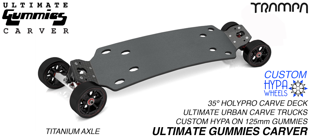 ULTIMATE GUMMIES HOLYPRO Carveboard - Mini ULTIMATE Trucks with Custom HYPA & 125mm GUMMIES longboard Tyres