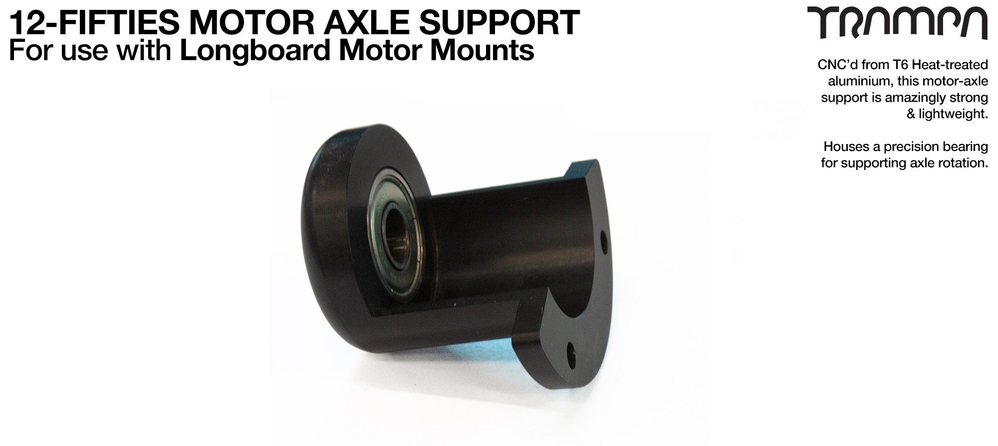 12Fifty Extra Wide Longboard Truck Motor Support Bearing in Housing