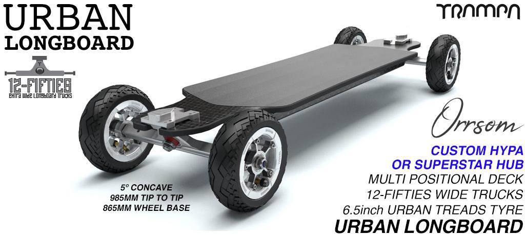 TRAMPA's ORRSOM Longboard with 12FiFties Trucks & 160mm Pneumatic URBAN TREADS Wheels