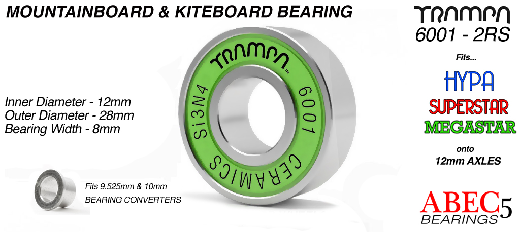 Si3N4 CERAMIC Mountainboard Bearing - Steel Ring with Nylon cage & 2x Removable Rubber shields 6001-2RS CERAMIC
