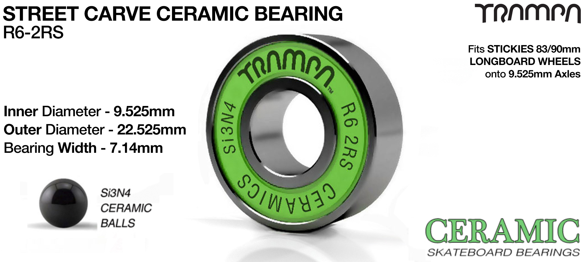 2x GREEN CERAMIC Si3N4 R6-2RS 9.525mm Bearings (+£12.50)