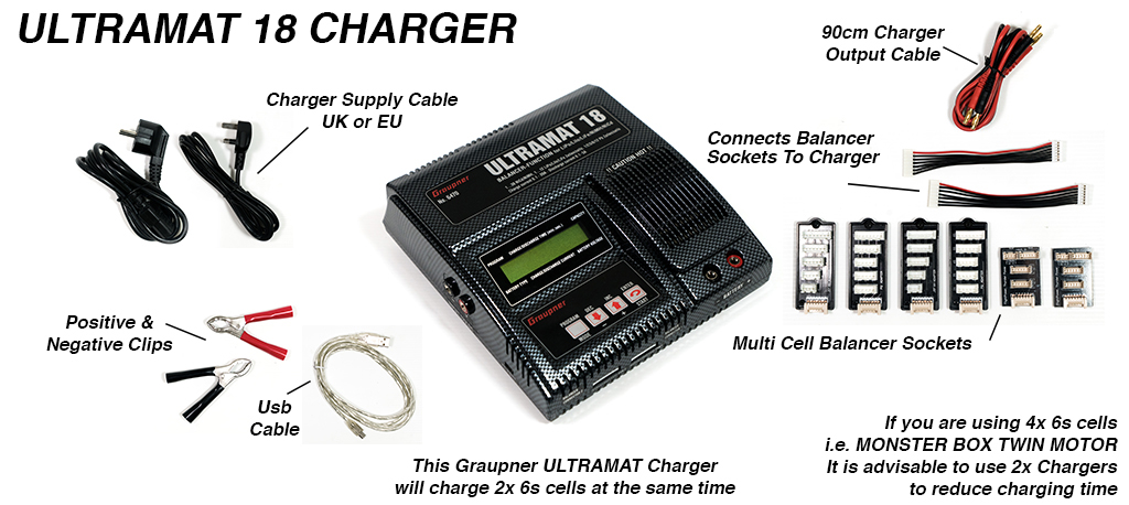 Graupner Ultramat 18 charger - capable of charging 2x 6s Batteries at once with balancing cables