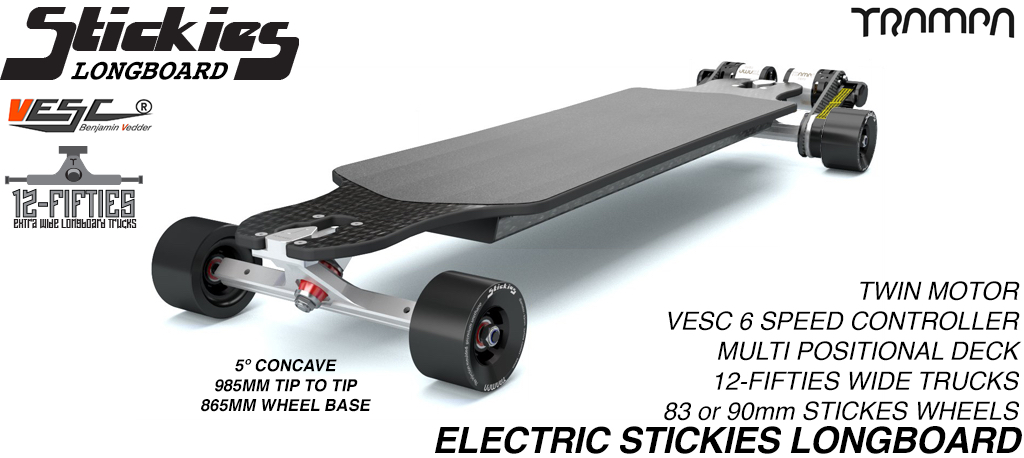 TRAMPA's ORRSOM Electric Longboard with STICKIES Longboard wheels - TWIN MOTOR
