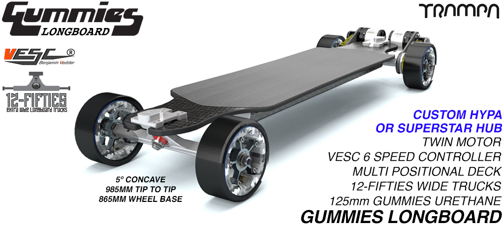 TRAMPA's ORRSOM Electric Longboard with GUMMIES 125mm Longboard Tyres - TWIN MOTOR