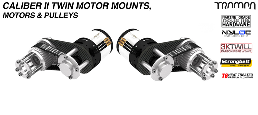 TWIN Caliber II CARBON Fibre Motormount with Pulley Kit & Motor