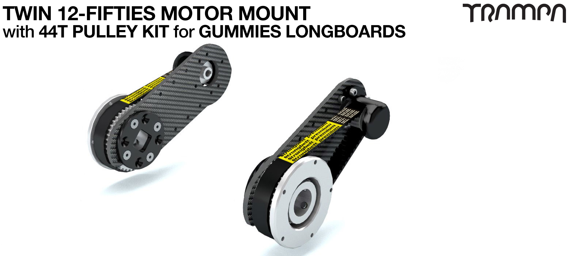 12Fifties CARBON Fibre Motormount Panel with Motor Axle support & Pulley Kit for GUMMIES Wheels TWIN