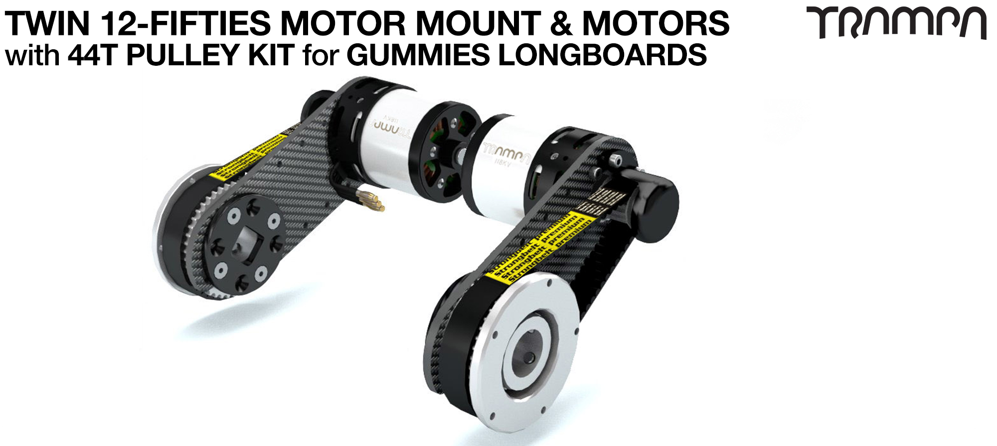 12Fifties CARBON Fibre Motormount Panel with Custom Motor & Pulley Kit for GUMMIES Wheels TWIN