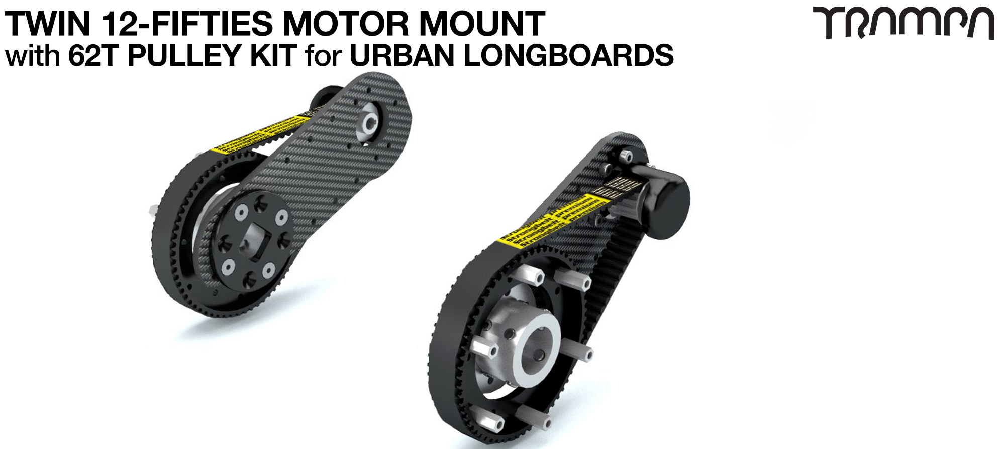 12Fifties CARBON Fibre Motormount Panel with Motor Axle support & Pulley Kit for URBAN Wheels TWIN