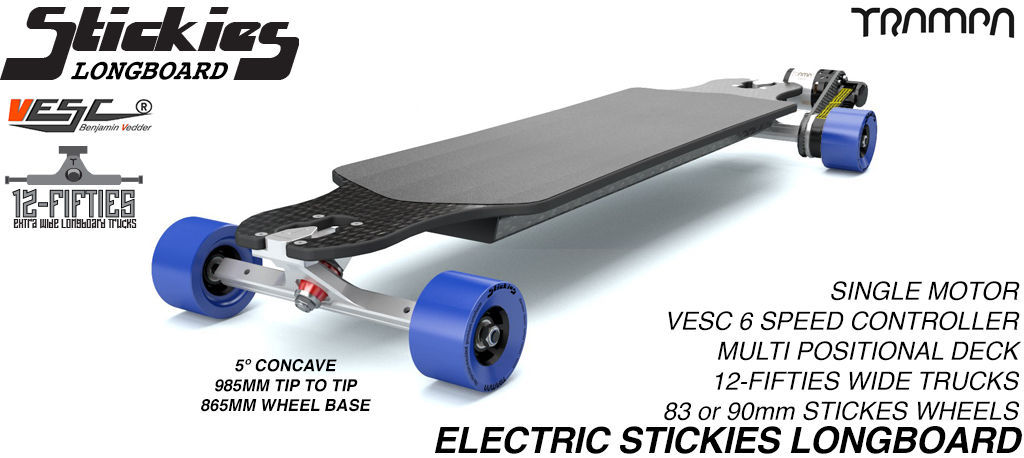 TRAMPA's ORRSOM Electric Longboard with STICKIES Longboard wheels - SINGLE MOTOR