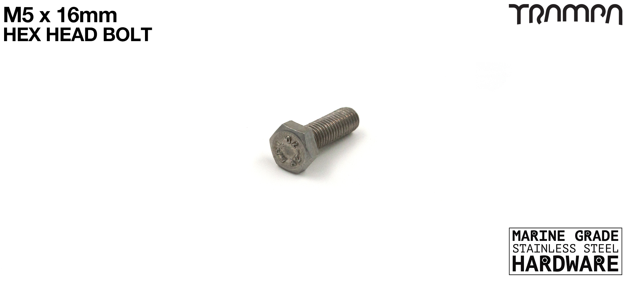 M5 x 16mm Hex Head Bolt ISO 4017 Marine Grade Stainless Steel