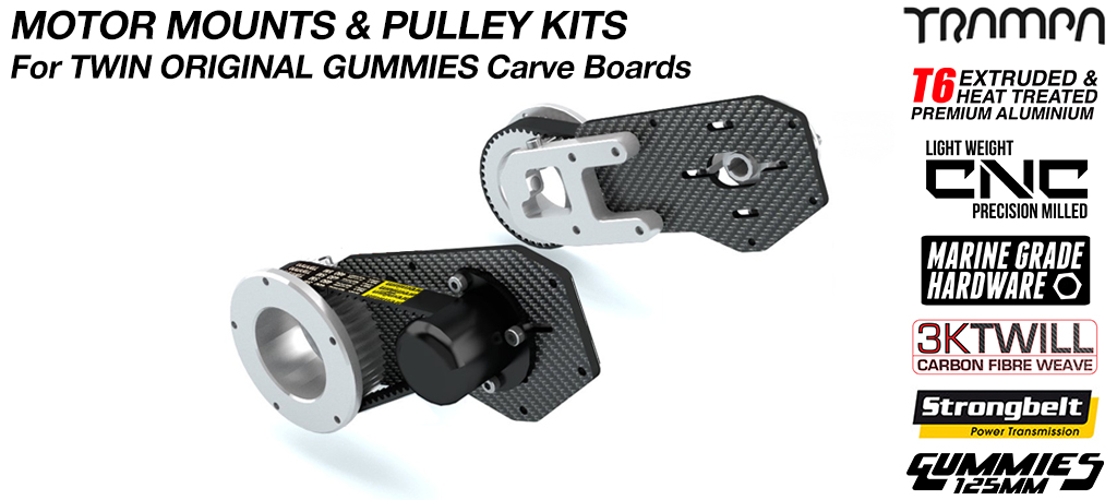 Original GUMMIES Carver Motor Mount with Motor Axle Support & Pulley kit - TWIN