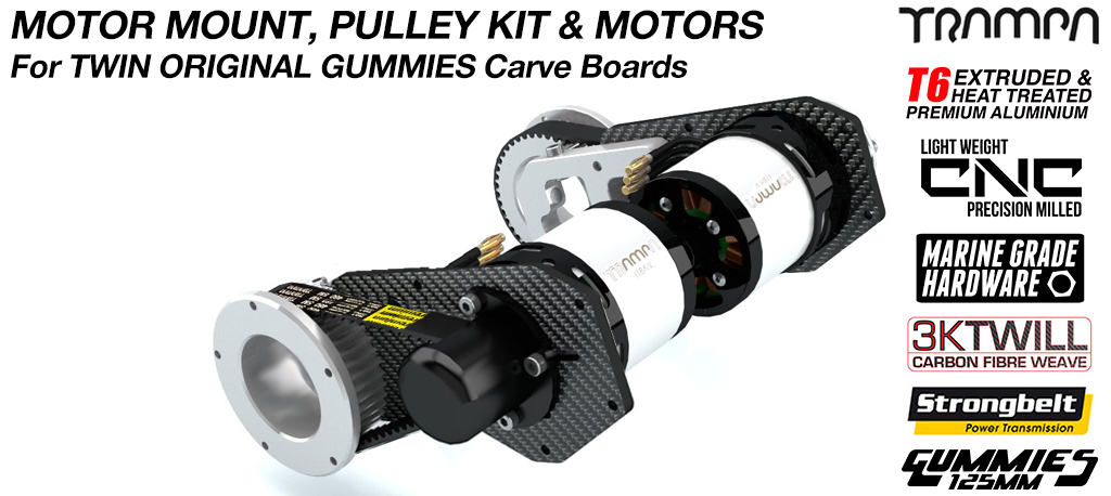 TWIN MOTOR Original GUMMIES Carver complete Motormount & Pulley Kit