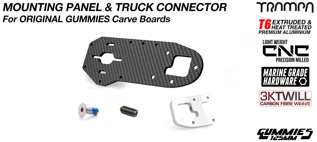 Original GUMMIES Carver Carbon Fibre PANEL with T6 Motor Mount CLAMP & GRUB Screws - SINGLE