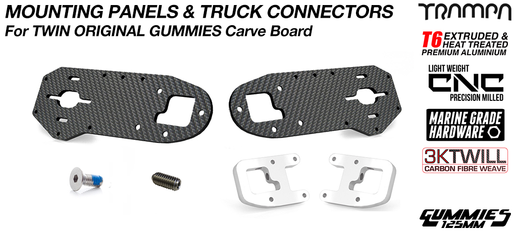Original GUMMIES CARVE Carbon Fibre Panel with T6 Motor Mount Clamp & Grub Screws - TWIN