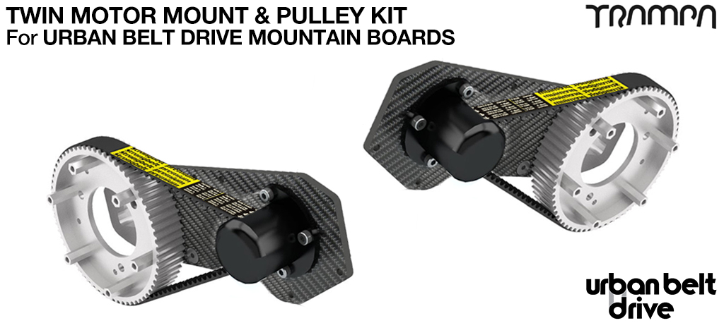 URBAN MOUNTAINBOARD Motormount with 66 tooth Pulley kit & Axle Suport kit - TWIN Mounts