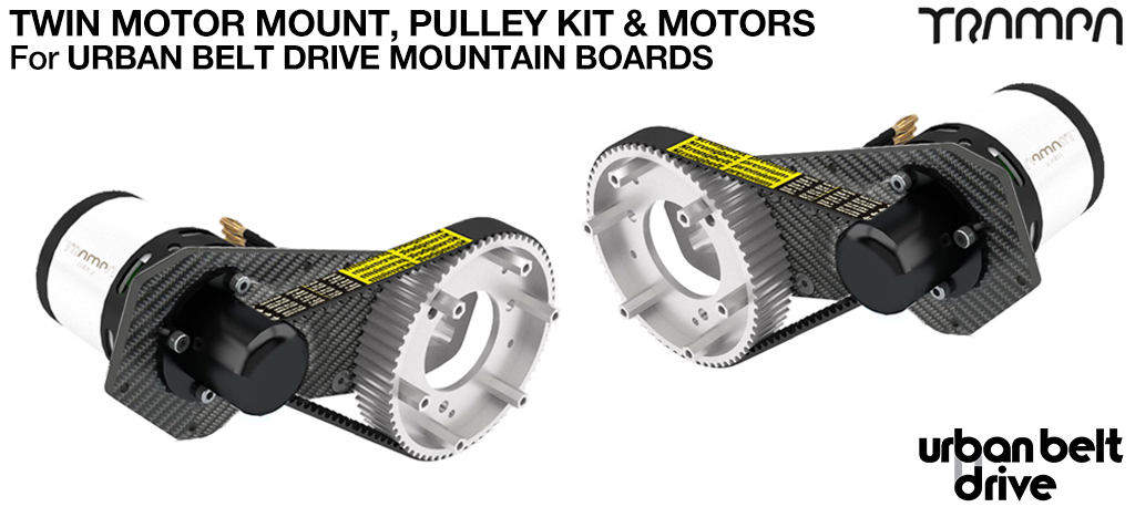 URBAN MOUNTAINBOARD Motormounts with Custom TRAMPA Motors & Complete 66 tooth Pulley Kit  - TWIN MOTOR