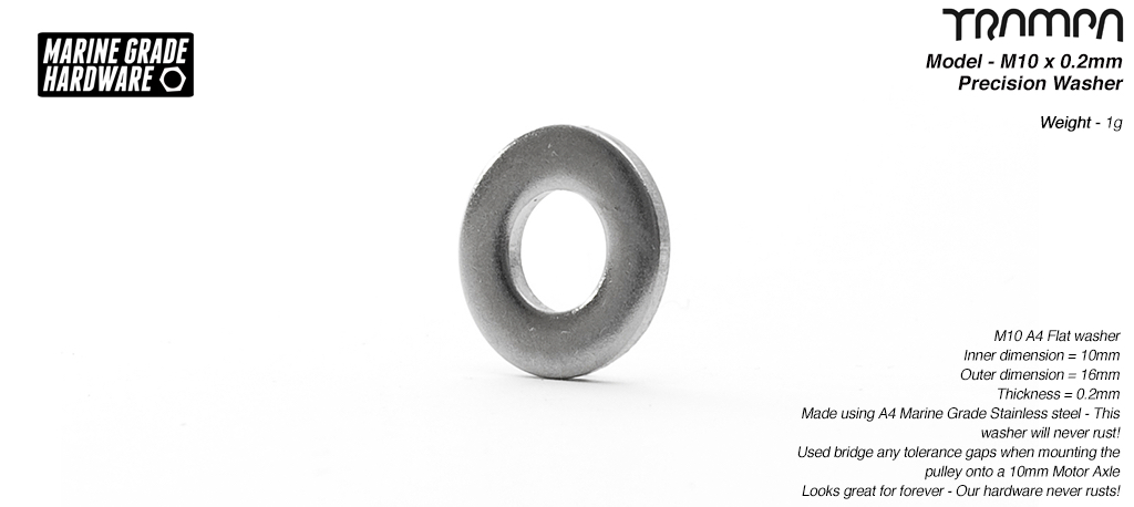 10 x 16 x 0.2mm Precision Shim Washer Marine Grade Stainless steel Used to take up any tolerance