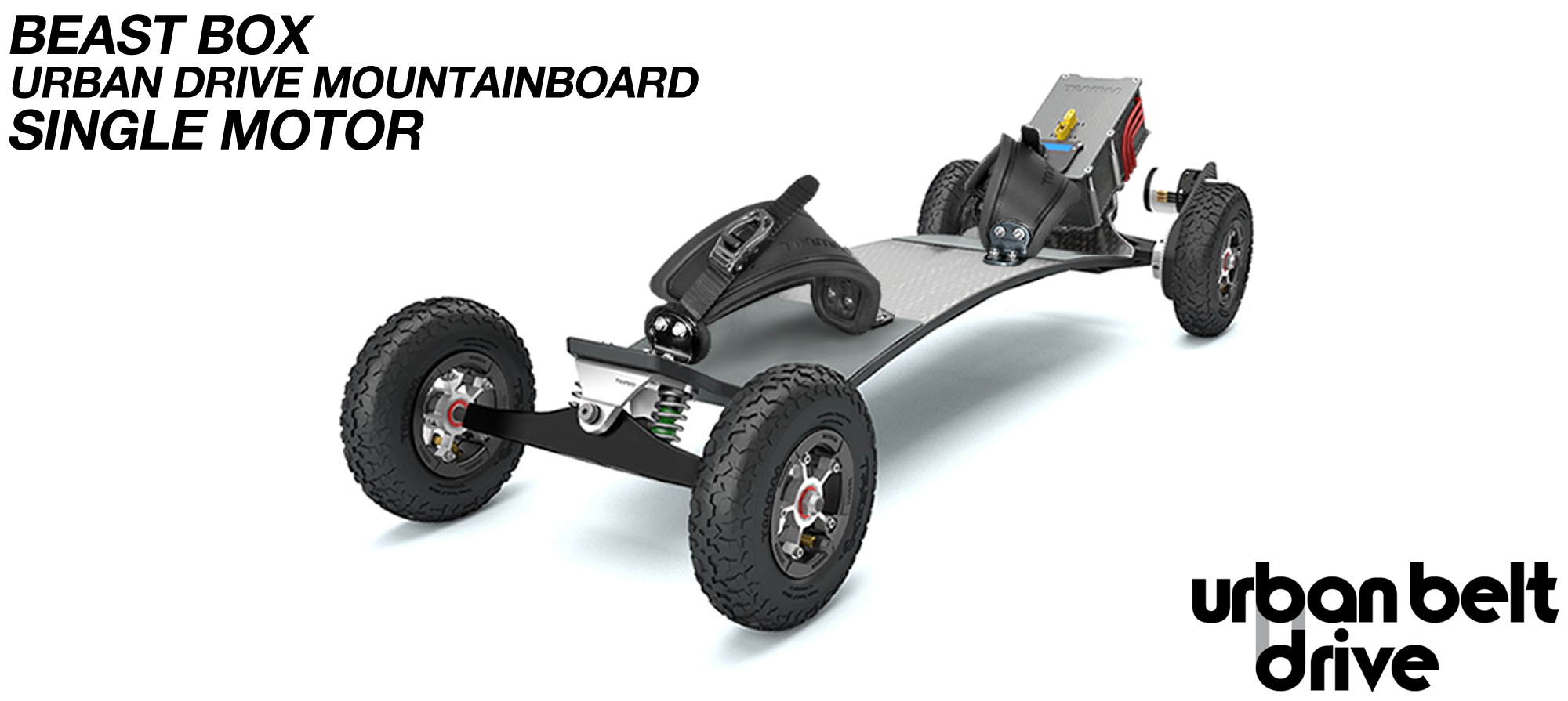 URBAN Electric Mountainboard - Urban Motor Mounts on Custom TRAMPA deck ATB Trucks 8 inch Wheels BEAST Box Single Motor with VESC