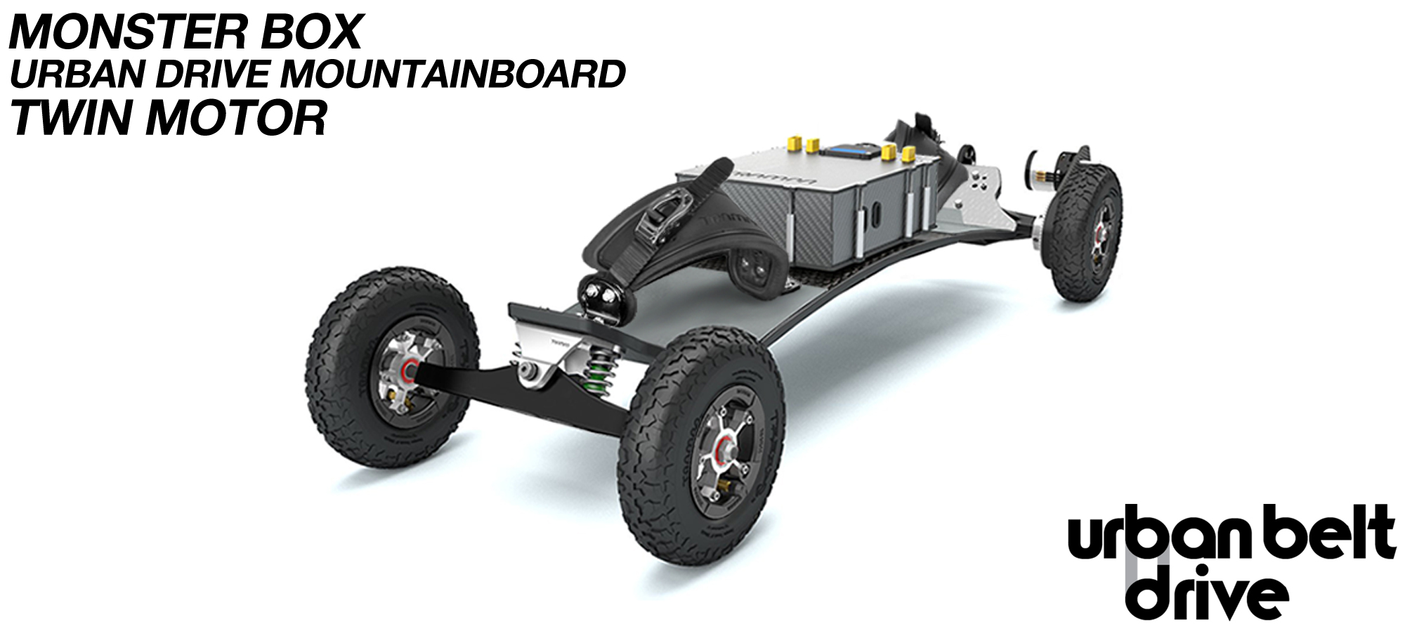 URBAN Electric Mountainboard - TWIN Urban Motor Mounts on TRAMPA ELECTRIC deck ATB Trucks 8 inch Wheels inc Bindings & MONSTER Box with TWIN VESC!