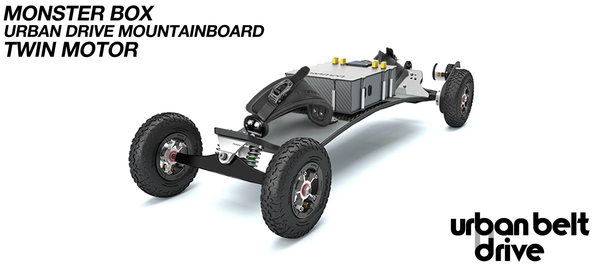 URBAN Electric Mountainboard - TWIN Urban Motor Mounts on TRAMPA ELECTRIC deck ATB Trucks 8 inch Wheels inc Bindings & MONSTER Box with TWIN VESC!