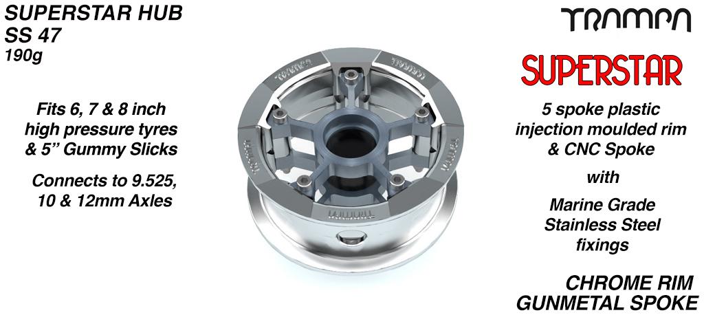 Superstar Hub - PIMP Chrome Rim with Gunmetal anodised spokes