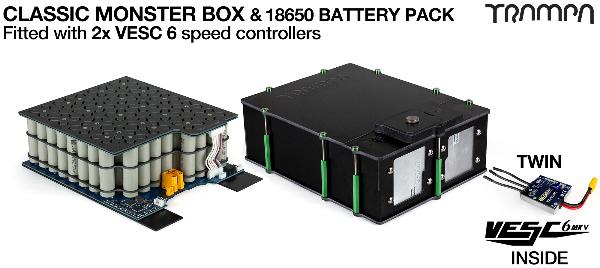 MONSTER BOX with space for TWIN Internal VESC, Made specifically to work in conjunction with TRAMPA's Electric Deck MkII