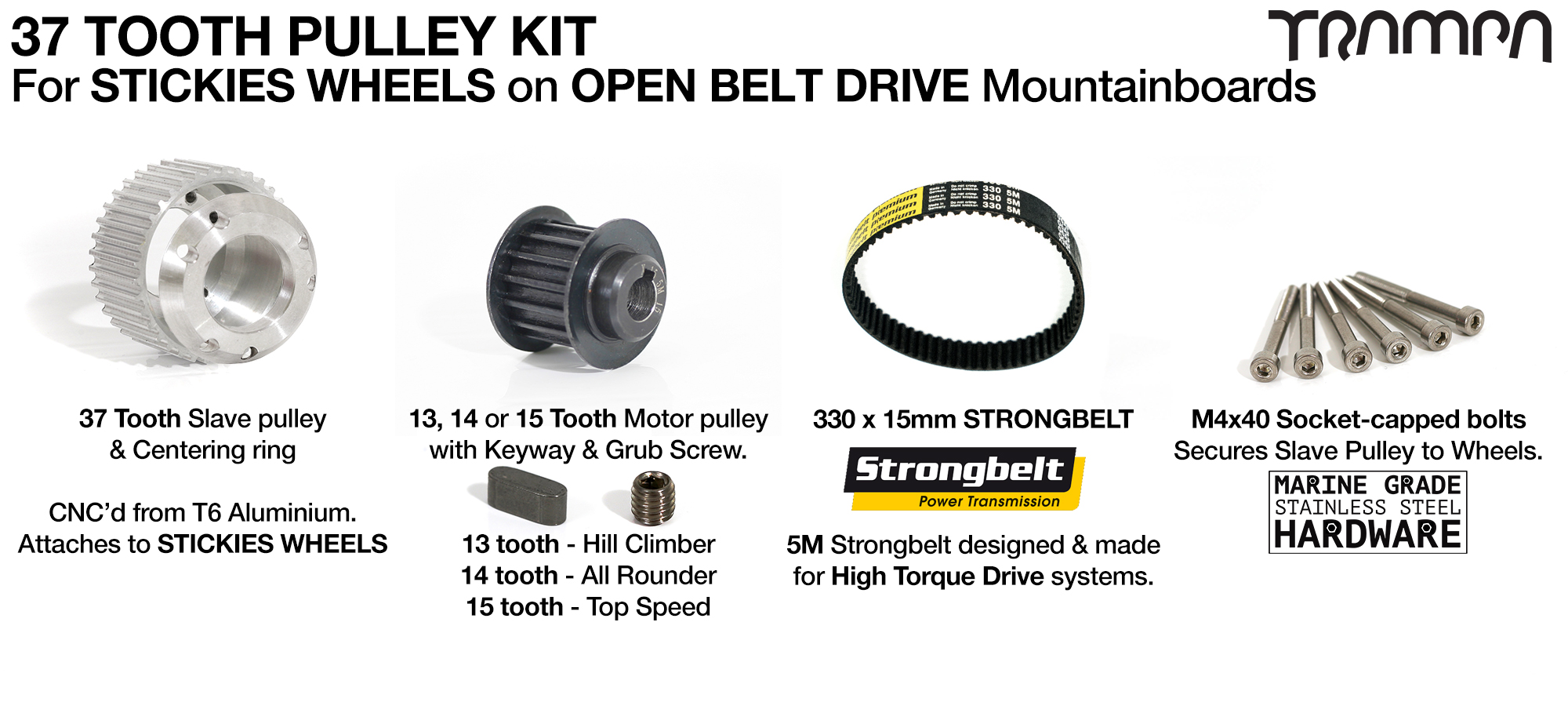 ORRSOM Longboard Pulley kit with 33 or 37 Tooth Slave & 350mm Belt to fit 83 or 90mm STICKIES Wheels