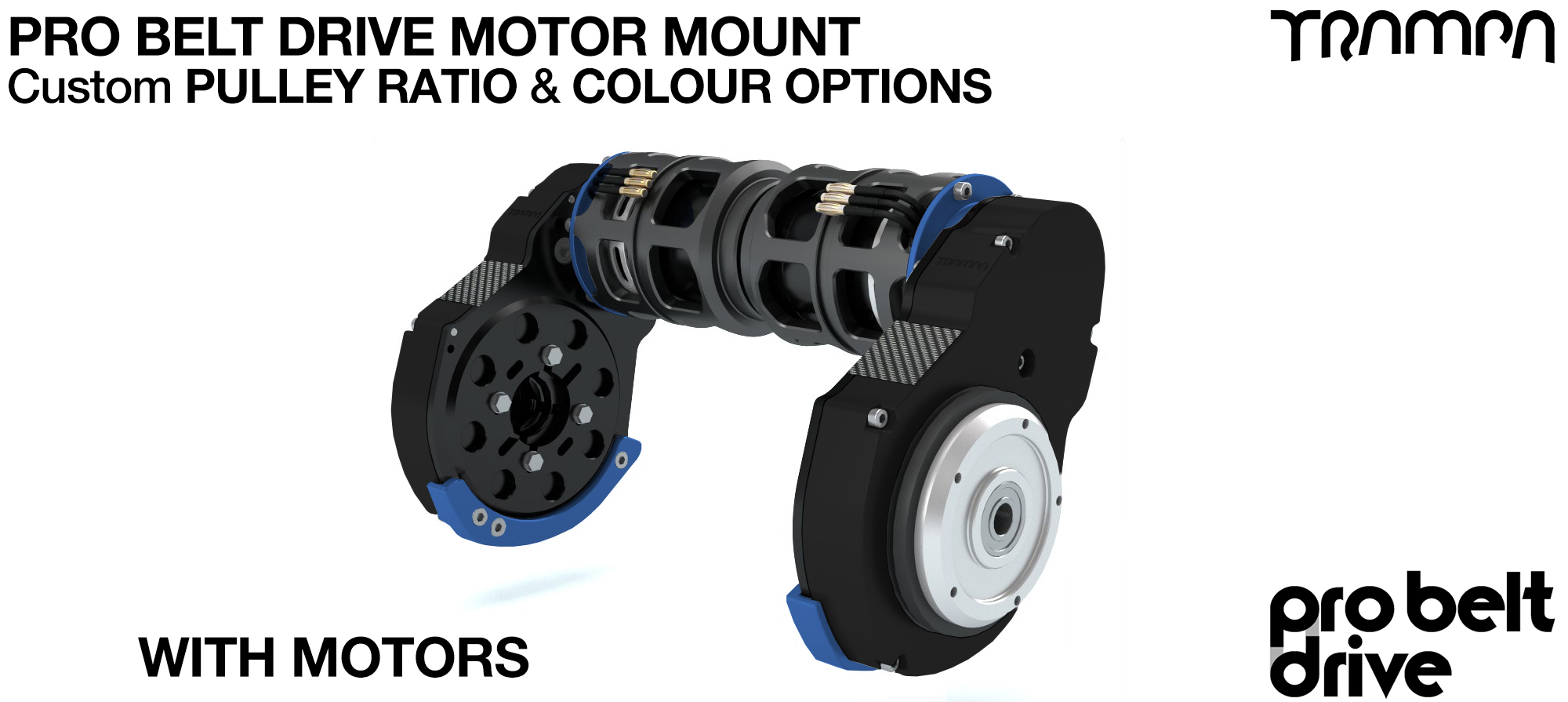 Mountainboard PRO Belt Drive TWIN Motor Mounts - with Motors