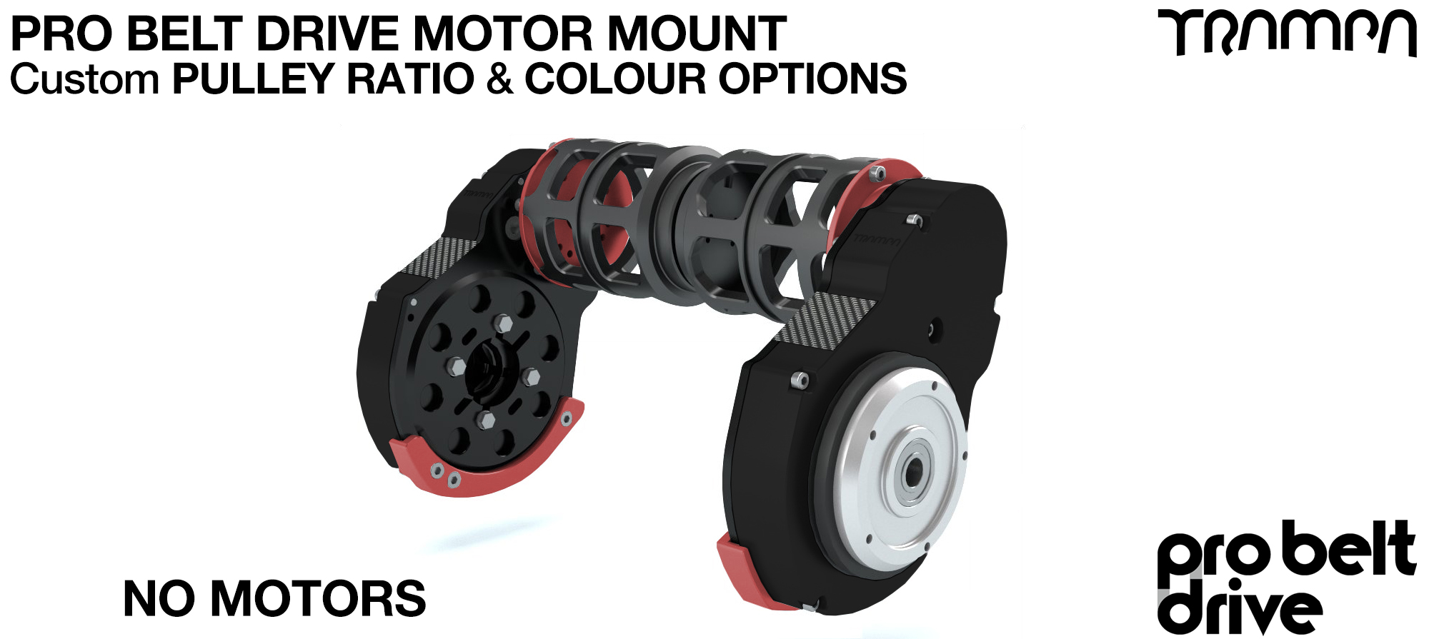 Mountainboard PRO Belt Drive TWIN Motor Mounts with Motor Protection housings